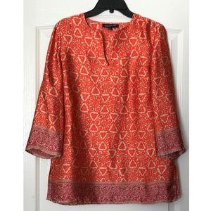 Jones New York Orange Tunic Blouse Size M